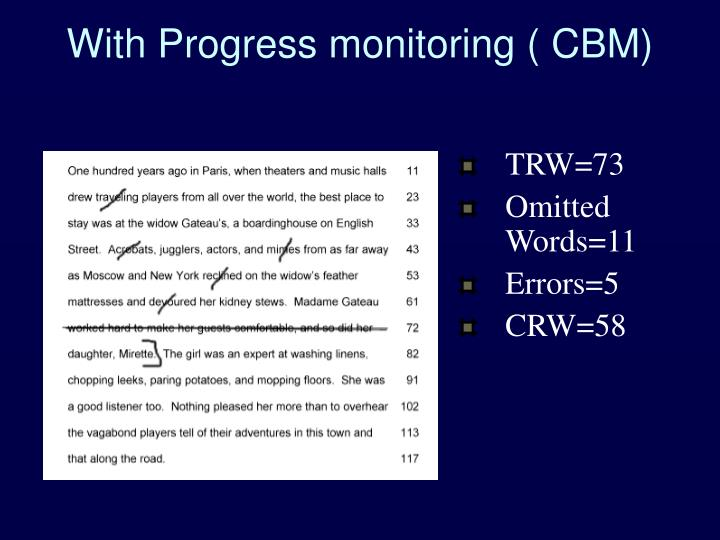 With Progress monitoring ( CBM)