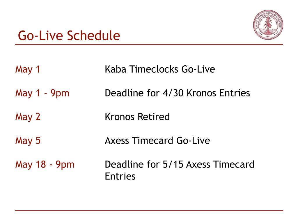 Go-Live Schedule