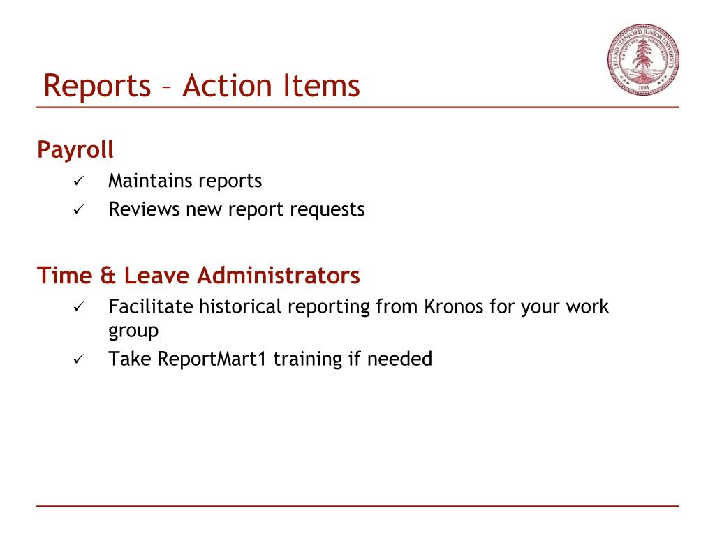 Reports – Action Items