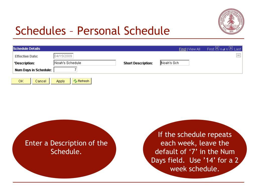 Schedules – Personal Schedule
