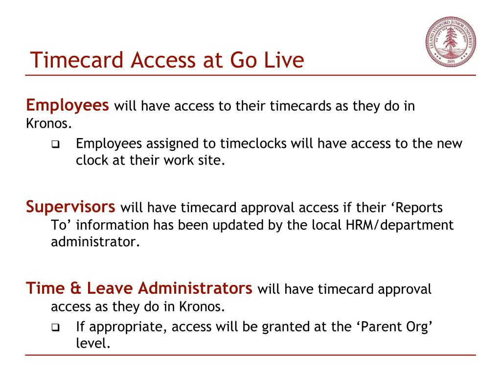 Timecard Access at Go Live