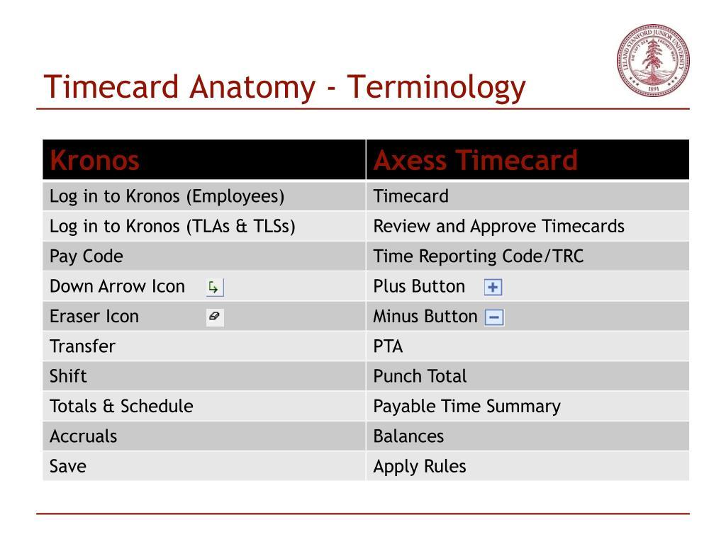 Timecard Anatomy - Terminology