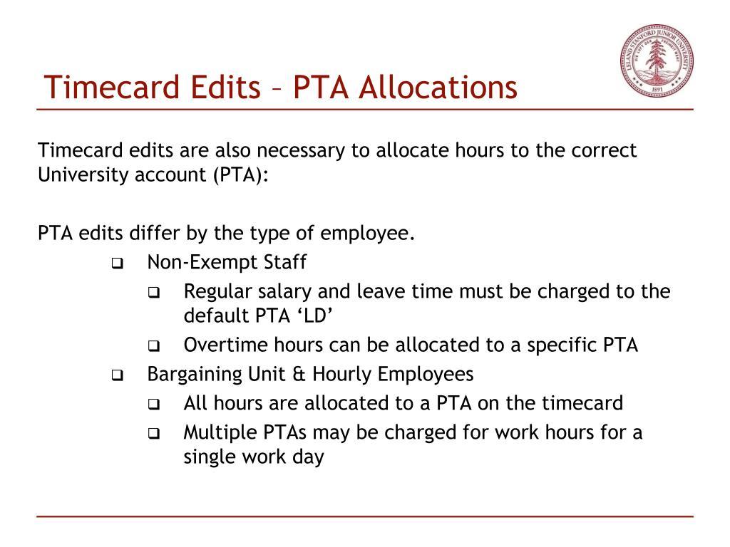 Timecard Edits – PTA Allocations
