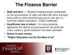the finance barrier