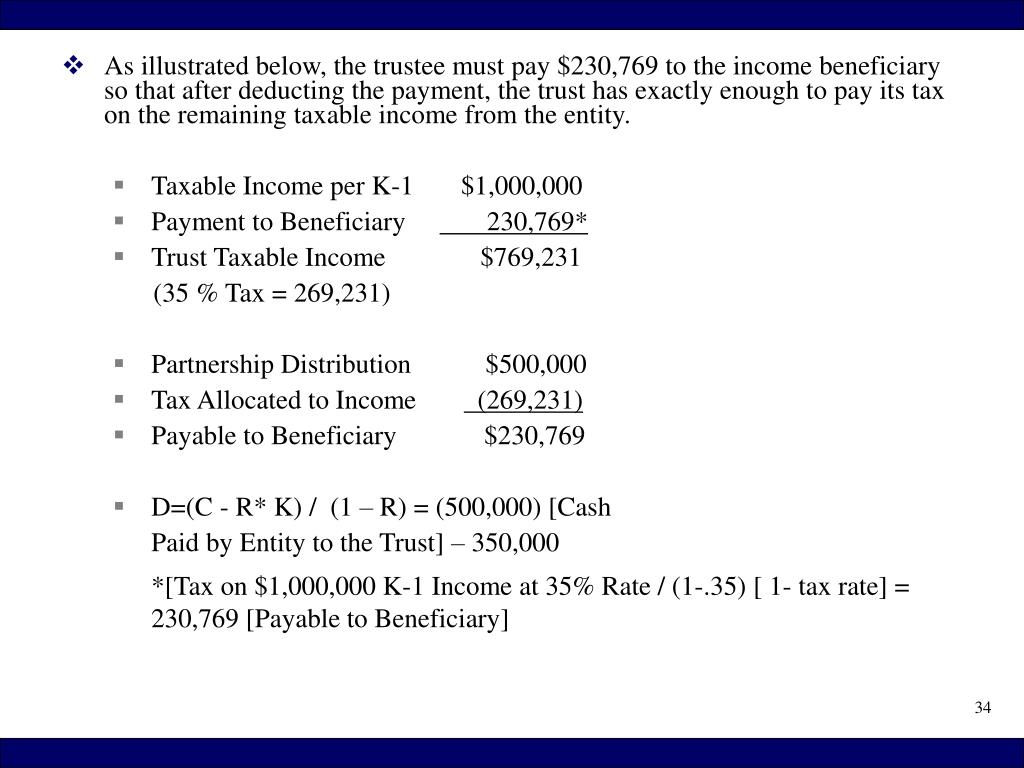 As illustrated below, the trustee must pay $230,769 to the income beneficiary so that after deducting the payment, the trust has exactly enough to pay its tax on the remaining taxable income from the entity.