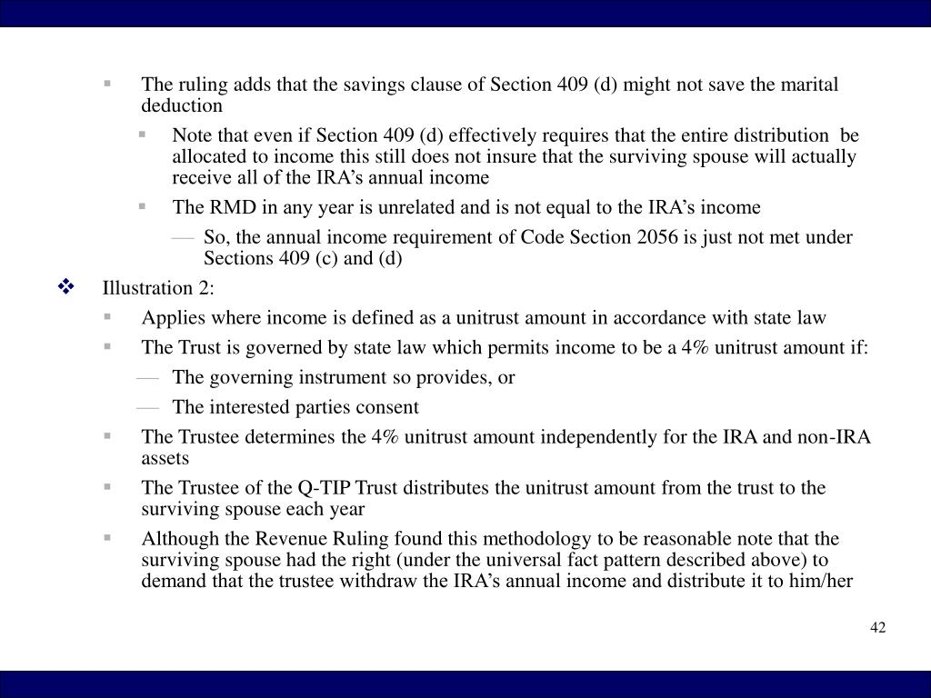 The ruling adds that the savings clause of Section 409 (d) might not save the marital deduction