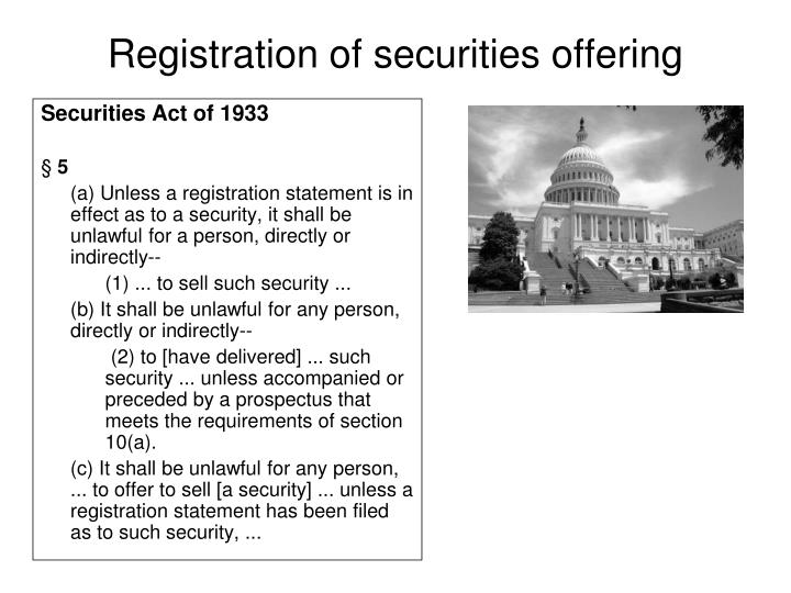 Registration of securities offering