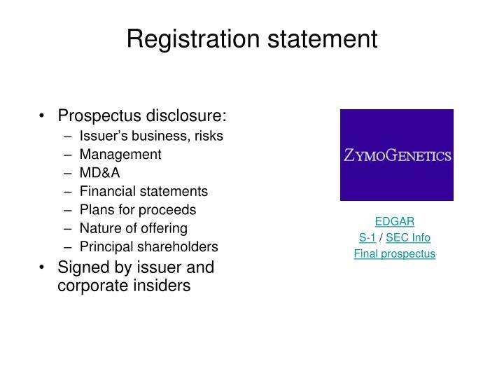 Prospectus disclosure: