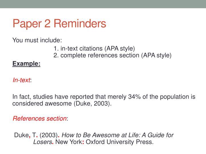 Paper 2 Reminders