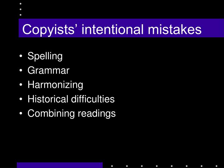 Copyists' intentional mistakes