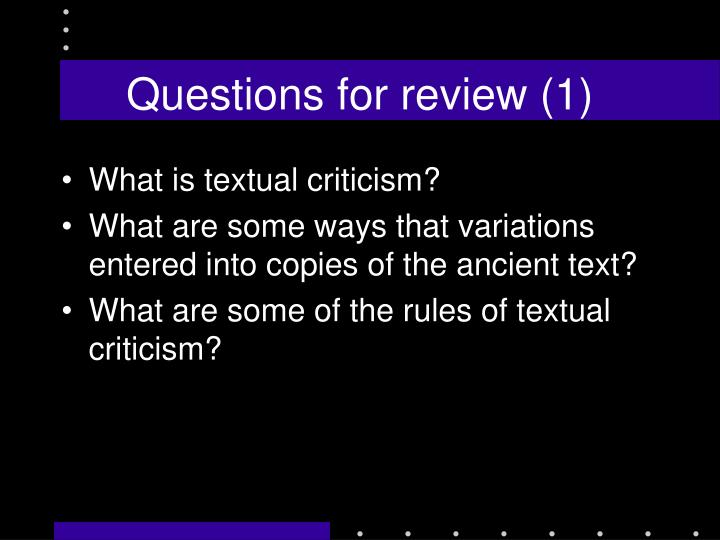 Questions for review (1)