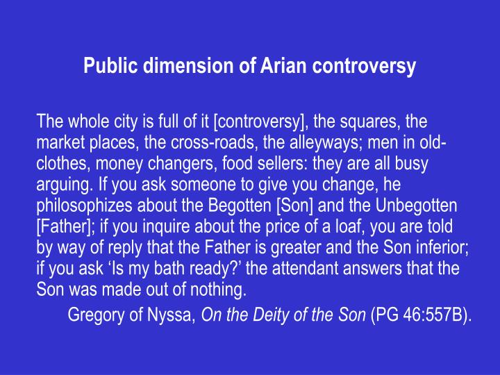 Public dimension of arian controversy