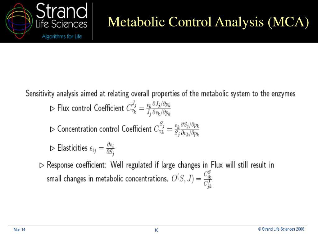 Metabolic Control Analysis (MCA)