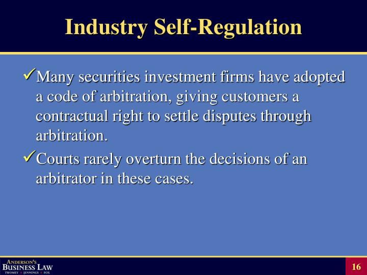 Industry Self-Regulation
