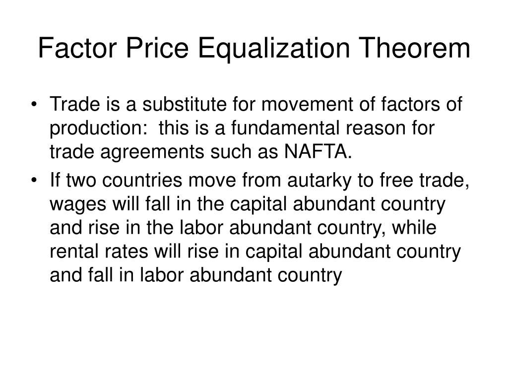 Factor Price Equalization Theorem