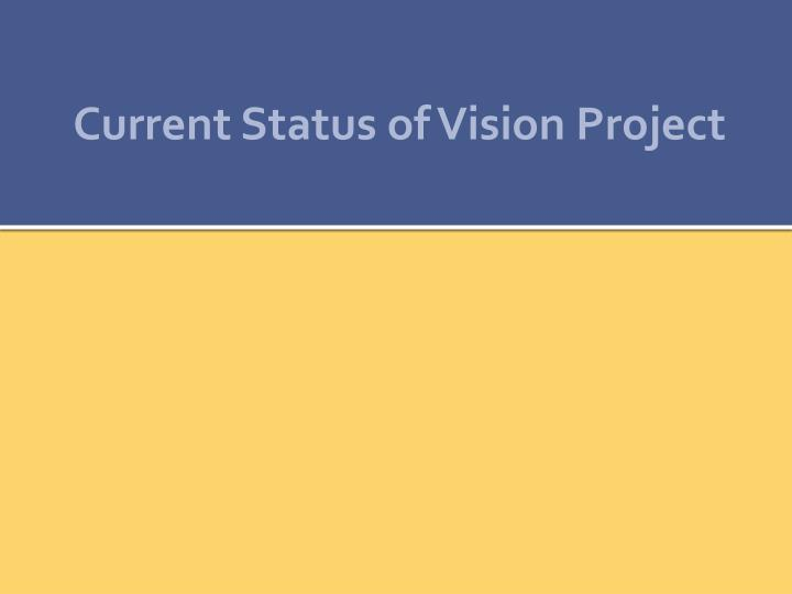 Current Status of Vision Project