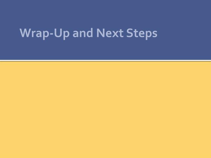 Wrap-Up and Next Steps