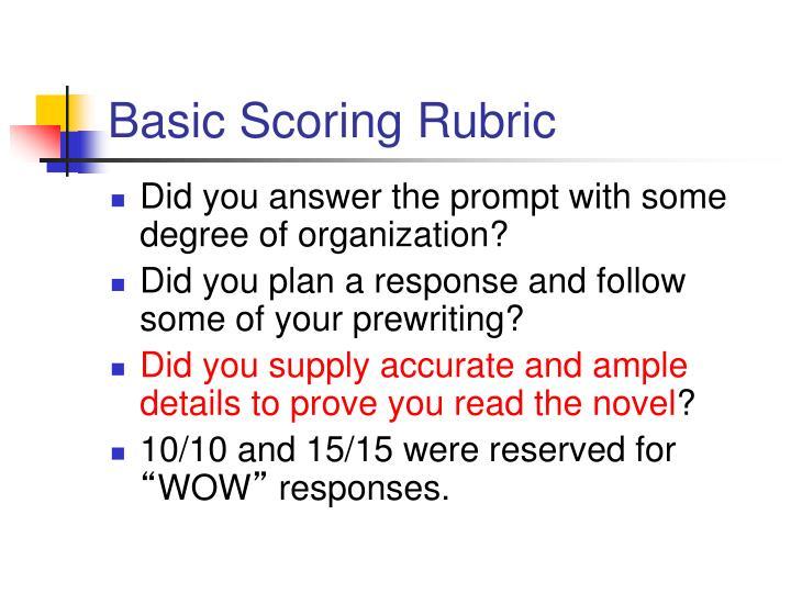 Basic Scoring Rubric