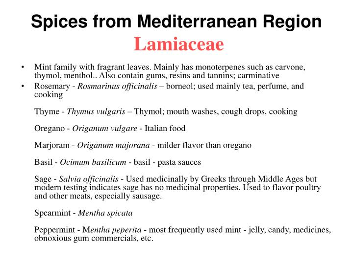 Spices from Mediterranean Region