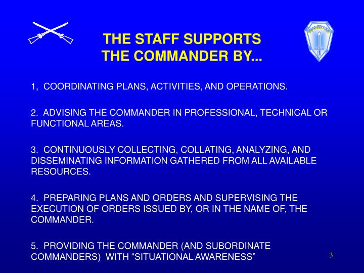The staff supports the commander by