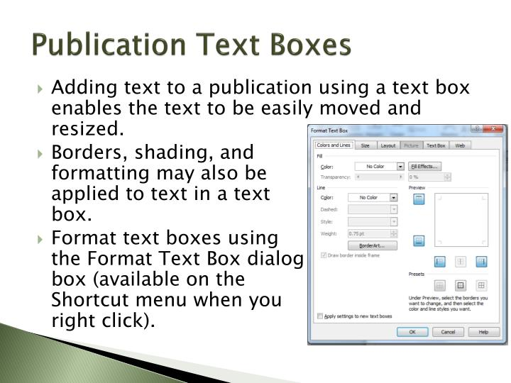 Publication Text Boxes