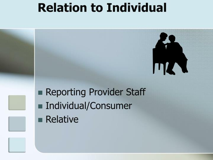 Relation to Individual