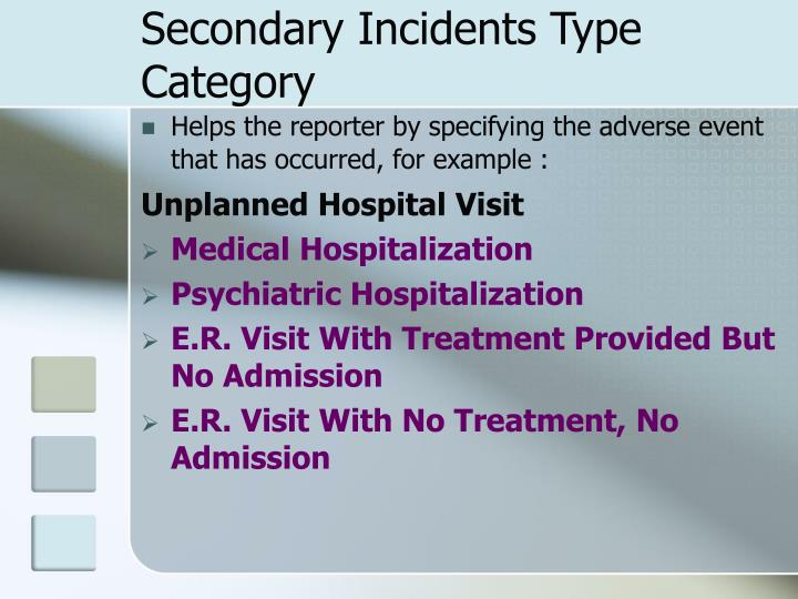 Secondary Incidents Type Category