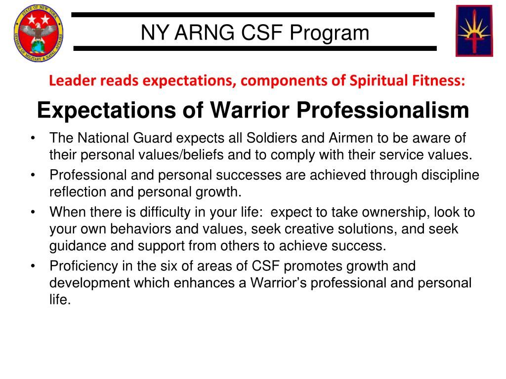 Leader reads expectations, components of Spiritual Fitness: