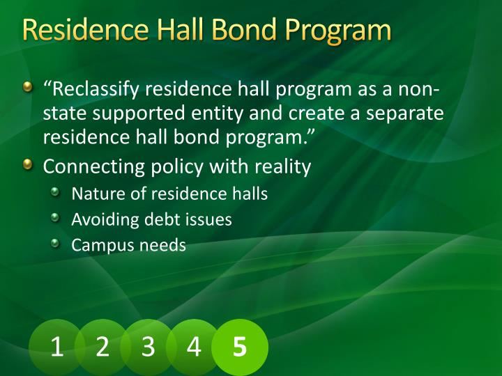 Residence Hall Bond Program