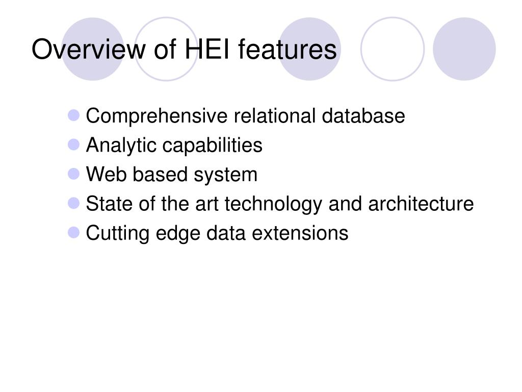 Overview of HEI features