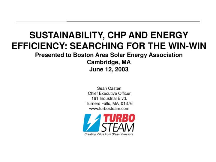 SUSTAINABILITY, CHP AND ENERGY EFFICIENCY: SEARCHING FOR THE WIN-WIN
