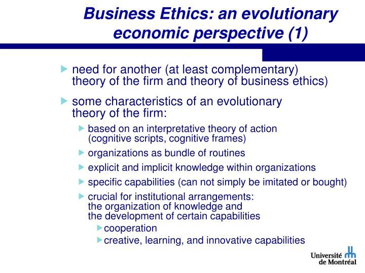 Business Ethics: an evolutionary economic perspective (1)