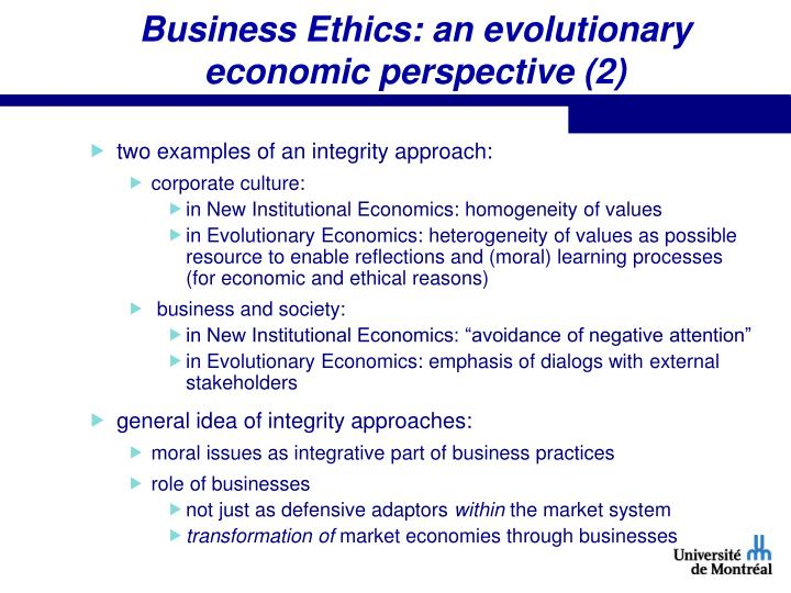 Business Ethics: an evolutionary economic perspective (2)