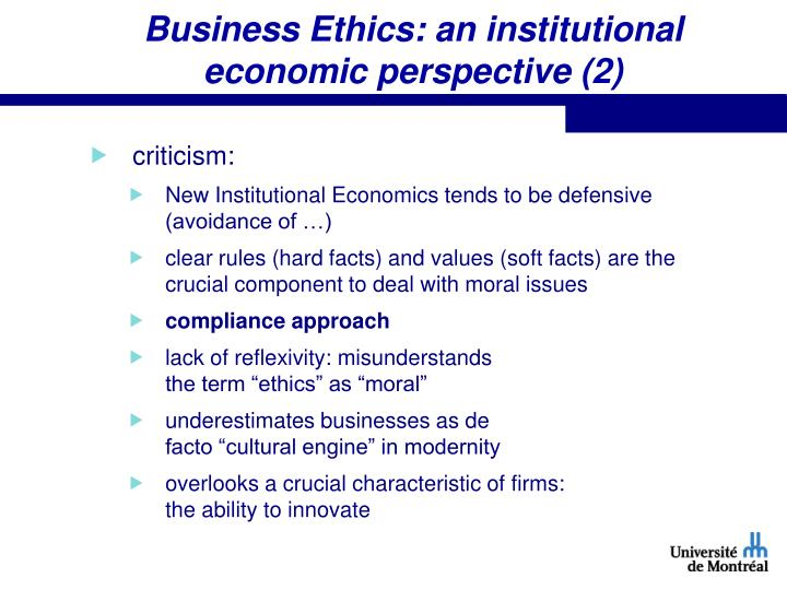 Business Ethics: an institutional economic perspective (2)