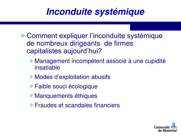 Inconduite systémique