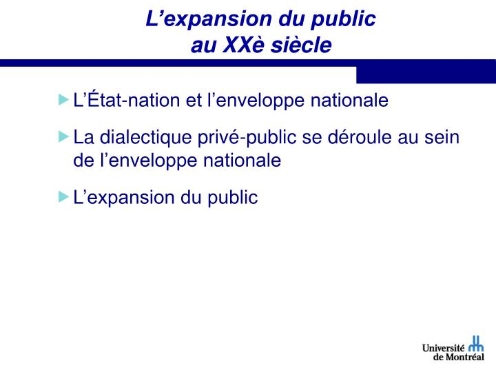 L'expansion du public