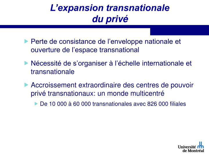 L'expansion transnationale