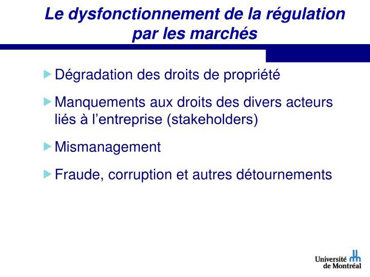 Le dysfonctionnement de la régulation par les marchés
