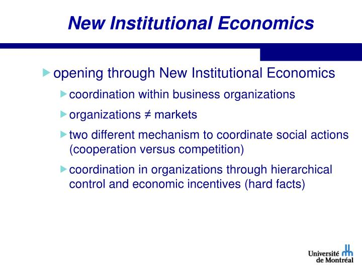 New Institutional Economics