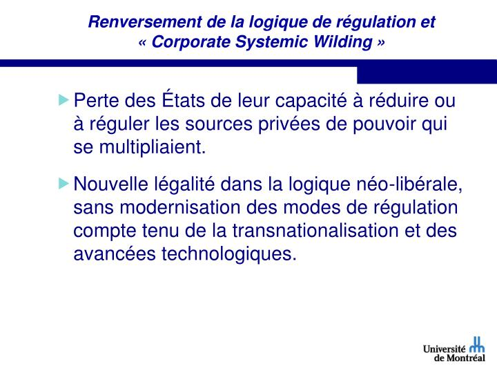 Renversement de la logique de régulation et « Corporate Systemic Wilding »