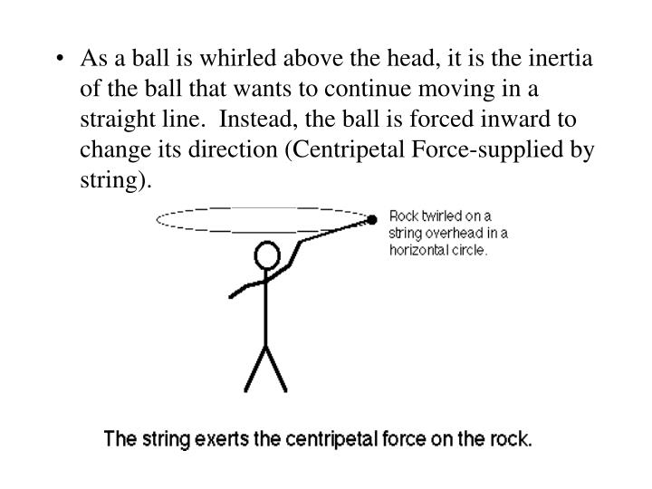 As a ball is whirled above the head, it is the inertia of the ball that wants to continue moving in a straight line.  Instead, the ball is forced inward to change its direction (Centripetal Force-supplied by string).