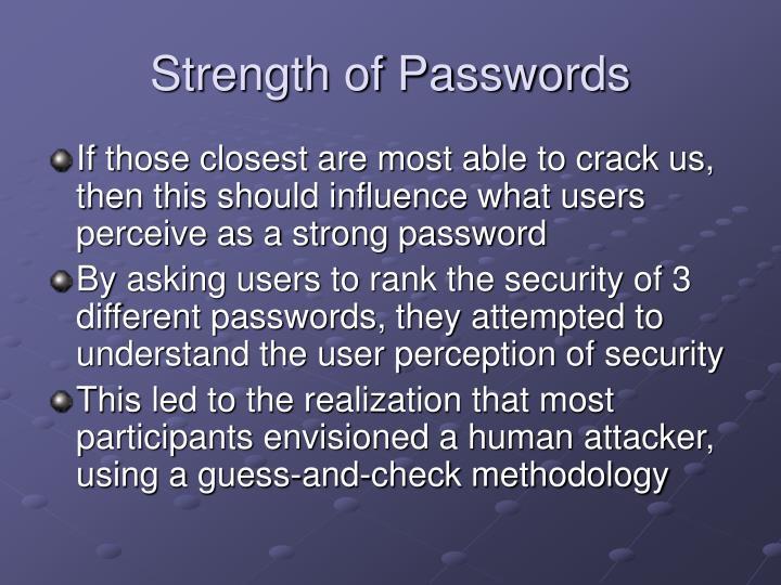 Strength of Passwords