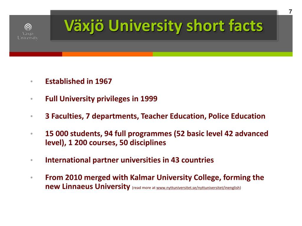 Växjö University short facts