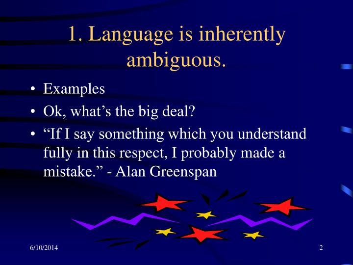1 language is inherently ambiguous