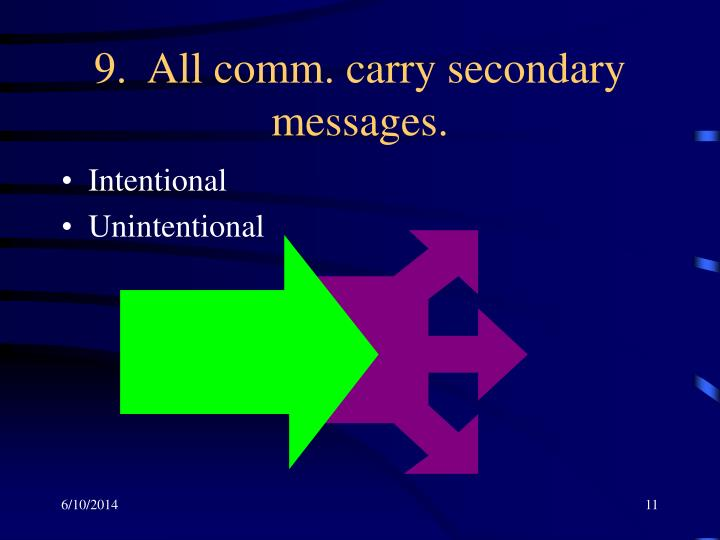 9.  All comm. carry secondary messages.