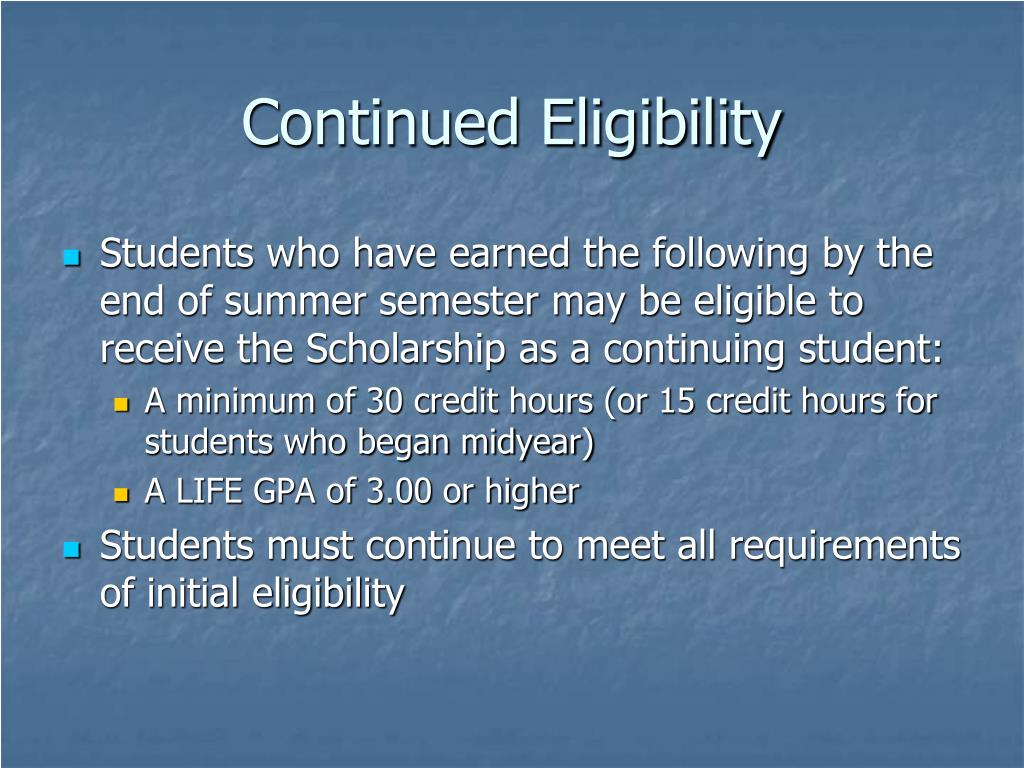 Continued Eligibility