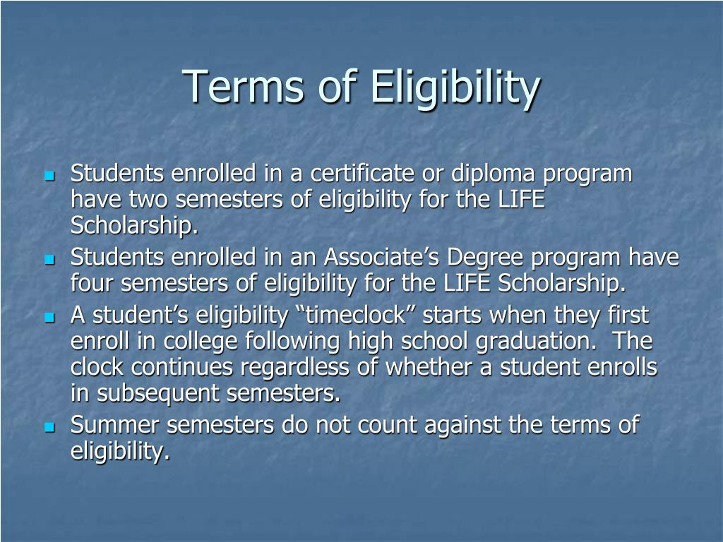 Terms of Eligibility