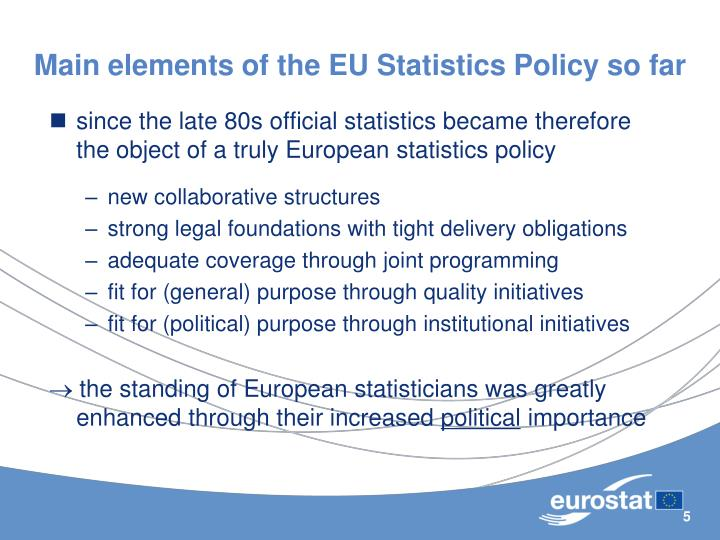 Main elements of the EU Statistics Policy so far