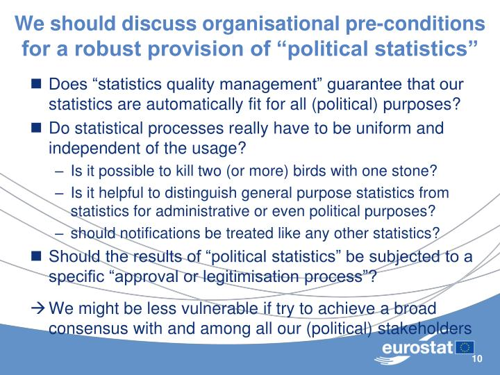 We should discuss organisational pre-conditions