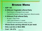 bronze menu